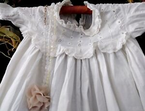 Antique French Lace Christening Gown Baptism Dress Baby Blessing Dedication Gown