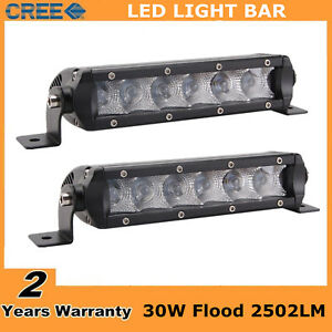 2x 7inch 30w Cree Led Slim Single Row Light Bar Flood Truck Utv 4wd Suv Fog Lamp