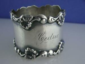 Victorian Sterling Towle Napkin Ring Ornate Scroll Pattern Cedric