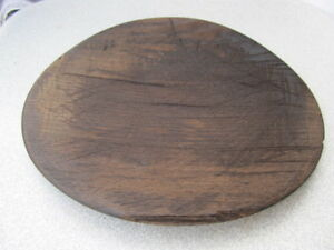 Old Antique Primitive Wooden Bowl Round Plate