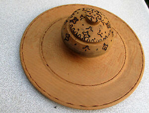 Old Antique Primitive Wooden Bowl Round Plate With Cup For Spices