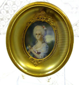 Antique French Portrait Miniature Painting Shadow Box Frame Sgn Cosway