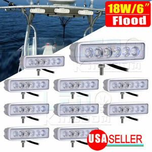 10pcs 6inch 18w Led Work Light Bar 4wd Offroad Flood Pods Fog Atv Driving Lamp