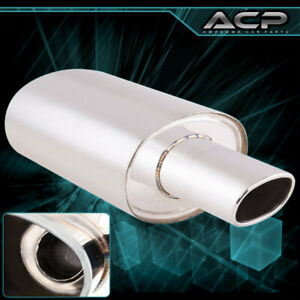 4 75 Oval Tip Stainless Steel Chrome Muffler 2 5 Inlet High Performance
