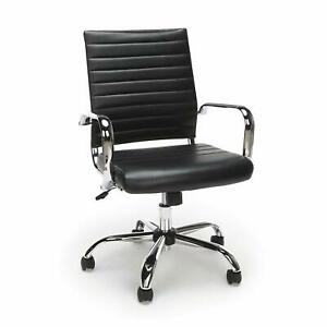 Mid Back Executive Conference Office Chair With Arms Black Ribbed Leathersoft