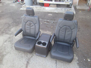 New Takeouts Heated Black Leather Seats Console Truck Van Bus Rv Hotrod