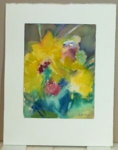 Vintage Abstract Modernist Botanical Watercolor Painting Mid Century 1968 2
