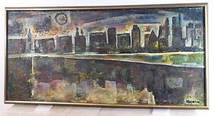 Vintage Cityscape Abstract Expressionist Nocturne Oil Painting Mid Century 1960s