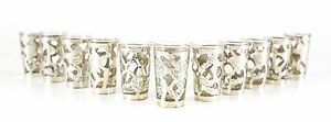 11pc Sterling Silver Overlay Shot Glasses Vintage W Hand Chased Foliate Design