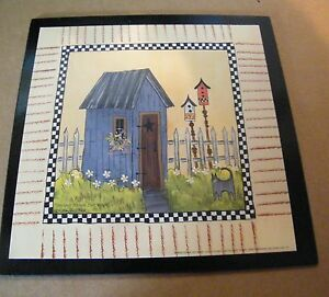 Country Primitive Blue Outhouse Cat Birdhouse Bathroom Decor Plaque Wooden Sign