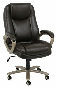 Big Tall 400 Lbs Capacity Brown Leathersoft High Back Executive Office Chair