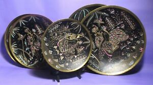 Vintage Brass Wall Hanging Bowls Etched Enamel Hand Hammered Painted