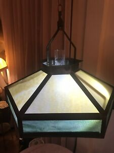 Rare Antique Mission Arts Crafts Slag Glass Chandelier Gas Lamp With Shade