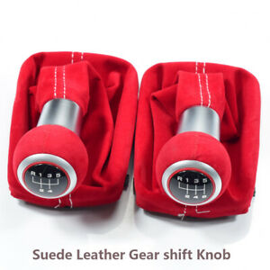 5 6 Speed Complete Red Gear Shift Knob Suede Leather For Audi A3 S3 2001 2003