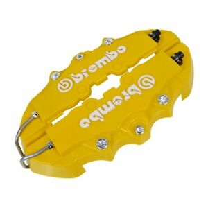 4x Universal 3d Brembo Style 2 Front 2 Rear Disc Car Brake Caliper Covers Yellow
