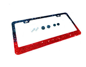 Ombre Bling License Plate Frame Holographic Black And Red Glitter Screw Caps