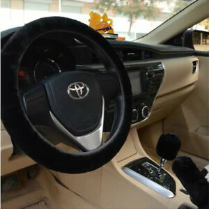 3 Pcs Set Soft Steering Wheel Cover Fuzzy Wool Plush Car Winter Warmer 12 Colors