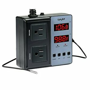 Bayite Temperature Controller Btc201 Pre wired Digital Outlet Thermostat 2 Stag