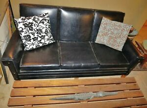 Original 1950 S 1960 S Vintage Mid Century Modern Black Sofa Couch In Nice Cond
