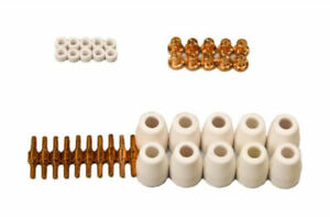 Lotos Plasma Cutter Nozzles Electrodes Cups And Rings Set Copper 40 piece