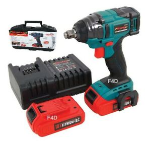 18v 1 2 Lithium Li ion Brushless Cordless Impact Wrench 2 Batteries In Case