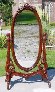 Unusual Victorian Cheval Mirror With Parrot Heads 19th Century
