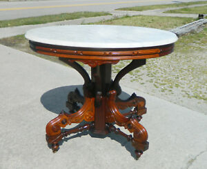 Walnut Oval Victorian Marble Top Table