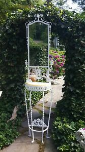 Victorian Cast Wrought Iron Shaving Stand Hall Tree With Marble Top Mirror