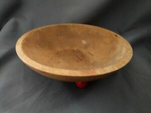 Vintage Wooden Munising Wood 3 Red Footed 9 Bowl Out Of Round