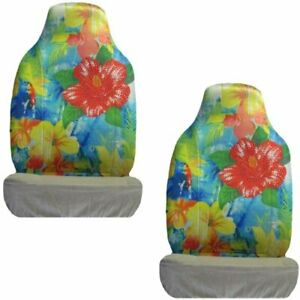 Red Flower W Tropical Flowers Crystal Studded Rhinestone Seat Covers Pair