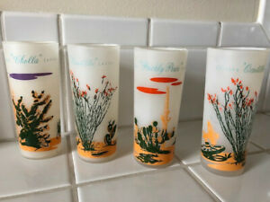 Mid Century Modern 4 Vintage Blakely Cactus Frosted Glasses 1950 S Retro Style