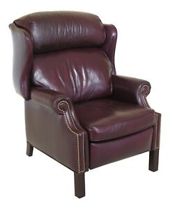 46904ec Hancock Moore Burgundy Leather Wingback Recliner Chair