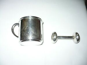 Sterling Silver Baby Cup And Rattle Initials Mmm