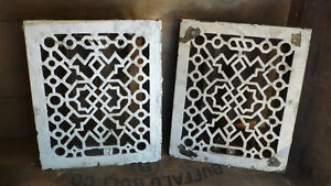 Pair 2 Antique Cast Iron Heating Grate Grates Art Deco Louvers Intact Salvage