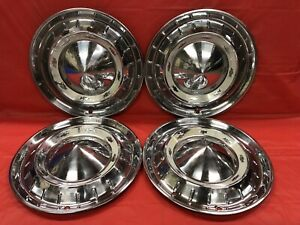 Vintage Set Of 4 1955 Chevrolet 15 Hubcaps Bel Air Nomad 210 Good Condition