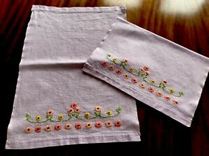Vintage Pair Of Small Embroidered Lilac Linen Huckaback Hand Towels