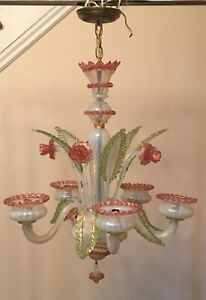 Authentic Vintage Venetian Murano Pink Glass 5 Arm Floral Chandelier