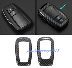 Carbon Fiber Remote Key Case Fob Shell Key Cover For Toyota Prado Fj150 2018 19