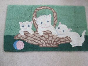 Antique Vtg Hooked Wool Rug Cats Kittens In Basket 35 X 20