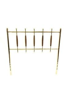 Vintage Mid Century Modern Chrome And Wood Bed Headboard