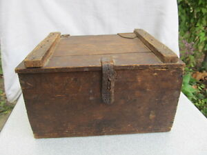 Old Antique Primitive Wooden Tool Box Case With Leather Fastener Hand Made