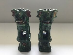 Antique Pair Of Porcelain Chinese Guardian Lions Foo Dogs