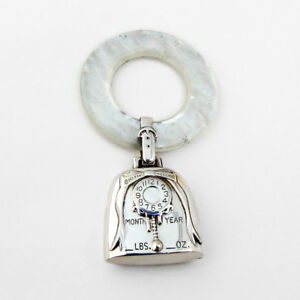 Birth Record Baby Rattle Teething Ring Sterling Silver Web