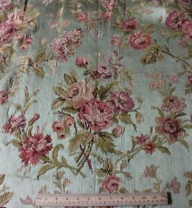 Antique French 19thc Rose Bouquet Tapestry Silk Cotton Fabric 1yd13 Lx43 W