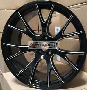 22 Rims Black Milled Wheels Stagger Pirelli Tires Hellcat Fit 300c Challenger