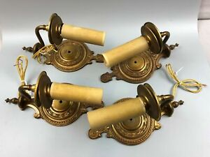 4 Vintage Brass Electric Candlestick Wall Light Fixtures Sconces
