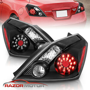 For 2008 2013 Nissan Altima 2dr Coupe Black Led Rear Brake Tail Lights Pair