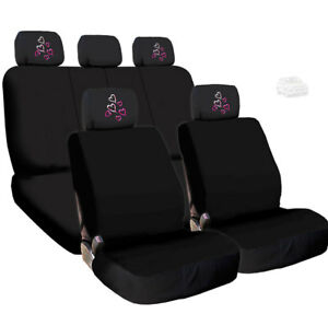 For Bmw New Black Cloth Car Seat Covers And Red Pink Hearts Headrest Covers