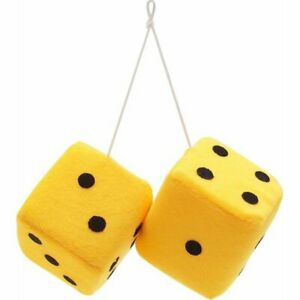 3 Yellow Fuzzy Dice With Black Dots Pair Muscle Car Hot Rod Streetrod Truck