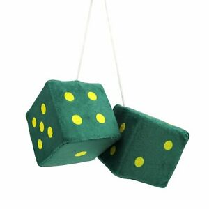 3 Dark Green Fuzzy Dice With Yellow Dots Pair V8 Hot Rod Car Truck Muscle Car